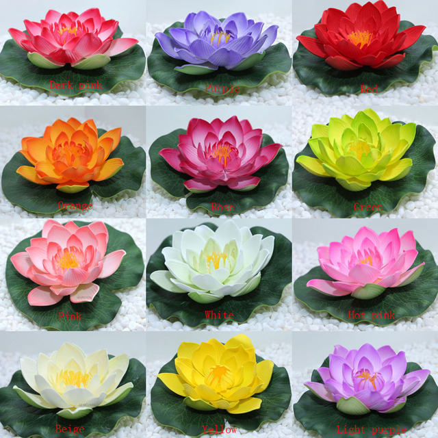 10 Pieces Artificial Foam Fake Lotus Flowers Lotus Leaves Water Lily