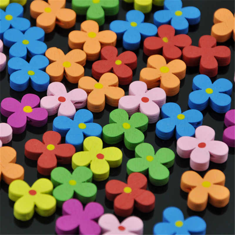 10/50/100pcs Cute Round Flower Wood Beads For DIY Children Necklace Bracelet;Fashion Wooden Jewelry Spacer Mixed Colors WB151
