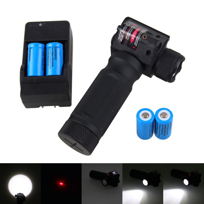 Red Laser Sight Combo with Vertical Grip Tactical Flashlight Hunting  1000 LM CREE LED Light Torch +4 PCS Batteries + Charger