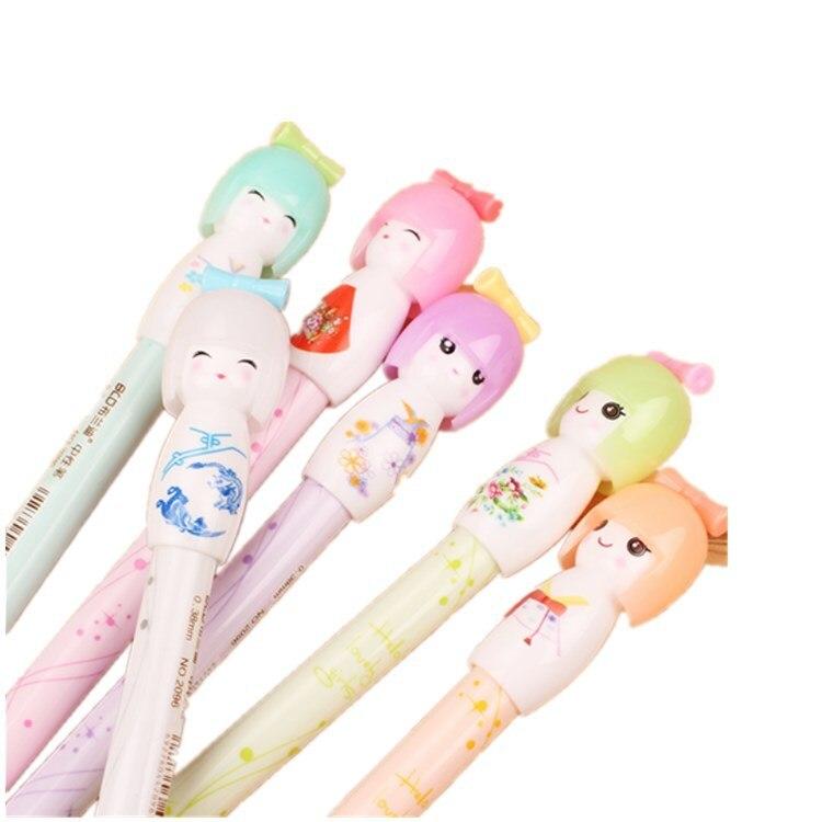 36 pcslote japones boneca gel caneta caricatura 02