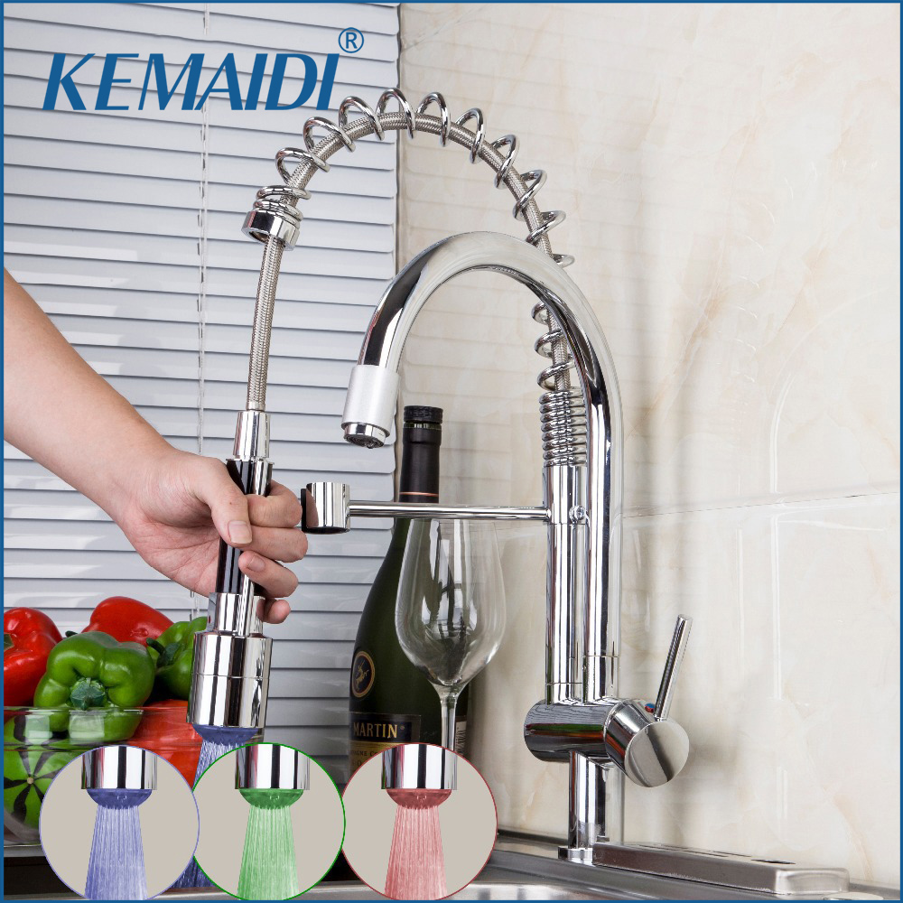 KEMAIDI New Design Swivel Pull Down Spray Kitchen Faucet Sink Mixer Tap Chrome Brass LED Kitchen Sink Faucets 8525-1D free shipping high quality chrome brass kitchen faucet single handle sink mixer tap pull put sprayer swivel spout faucet