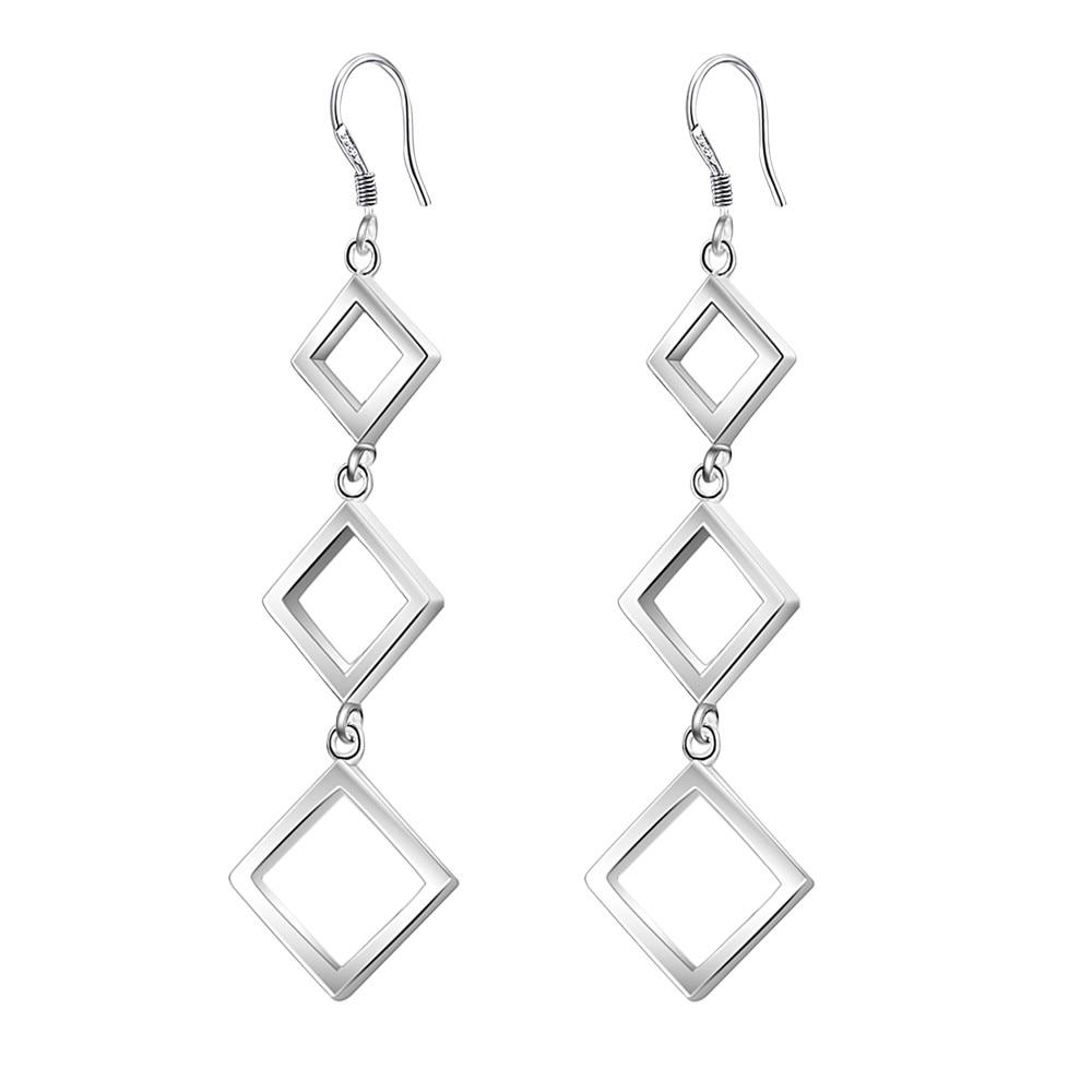 3d27dcbb55ea Tres cuadrados alta calidad plata Pendientes para las mujeres moda joyería  Pendientes nxrkezcr vsdgeftt