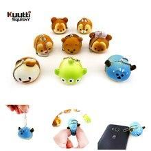 Kuutti Squishy Cute Mini Cartoon Anime Head Ball Stress Relief Hard PU Foam Mobile Phone Charm Straps Gifts Accessories