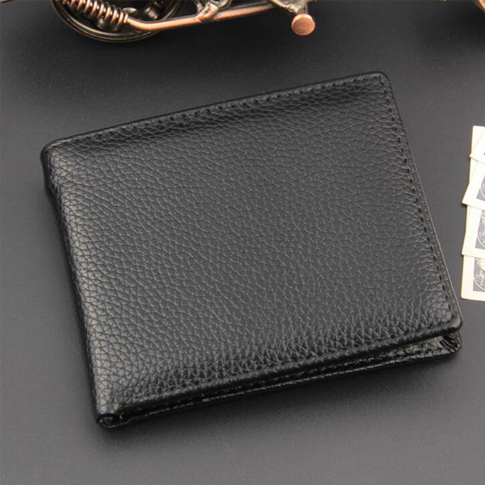 Practical Pocket Coin Bifold Casual Portable Purse Classic PU Leather Simple Men Wallet Card Holder Gift Slim