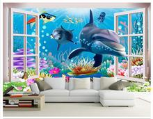 3D wallpaper custom mural beauty 3 d underwater world aquarium cartoon children room background wall paintings non-won