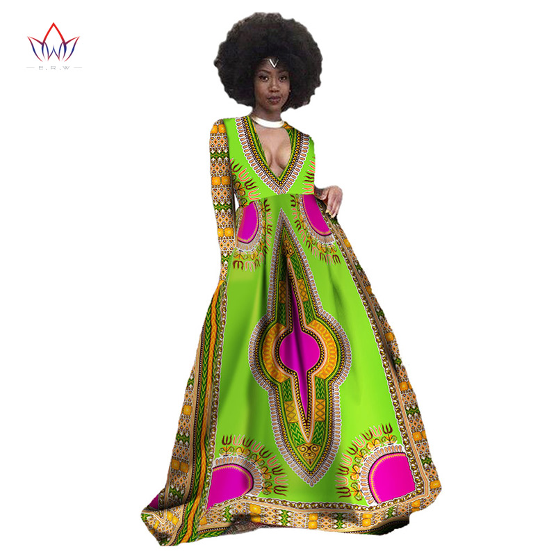 Spring Women Deep V-neck Sexy Long Dress Plus Size 6xl Traditional African Clothing Maxi Dress Vestidos Office Party Dress WY349