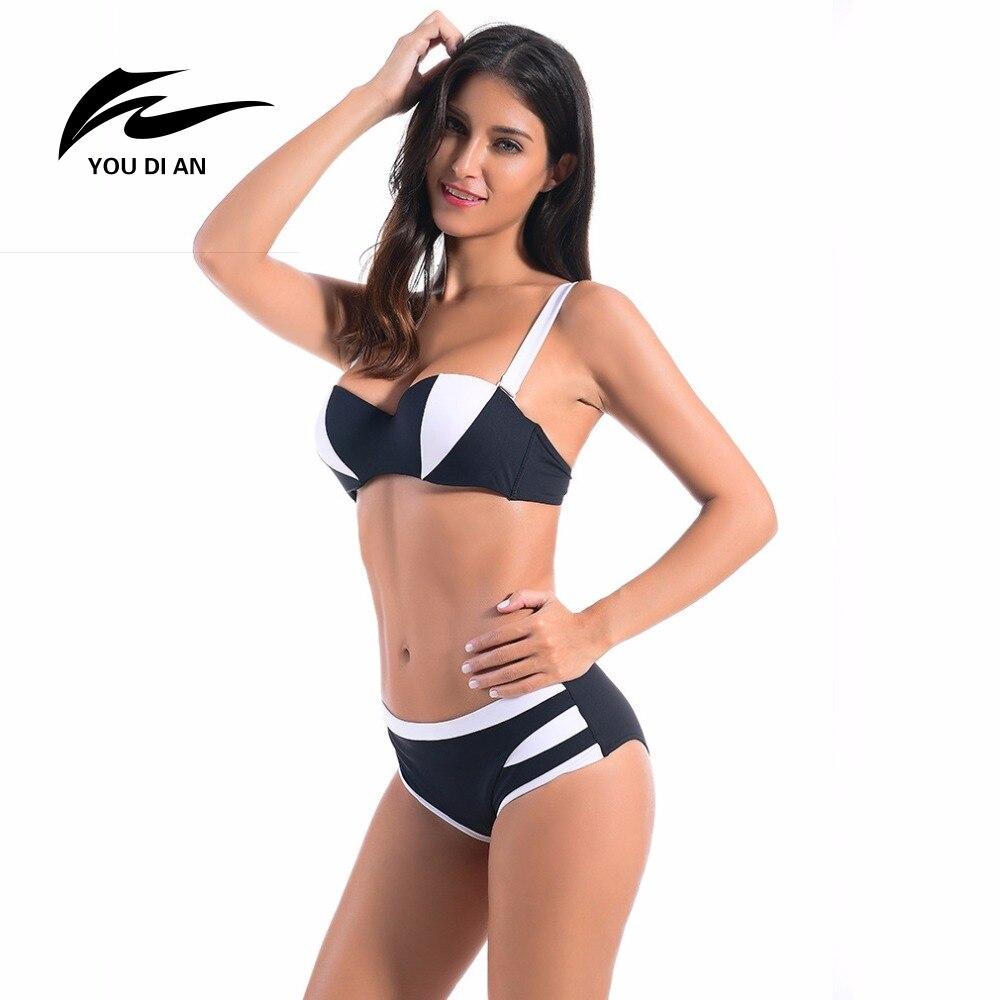 YOUDIAN Black White Striped Swimwear Women Sexy Micro Bikinis Set Brazilian Bikini Thong Swimsuit Plavky Maillot De Bain Femme micro white