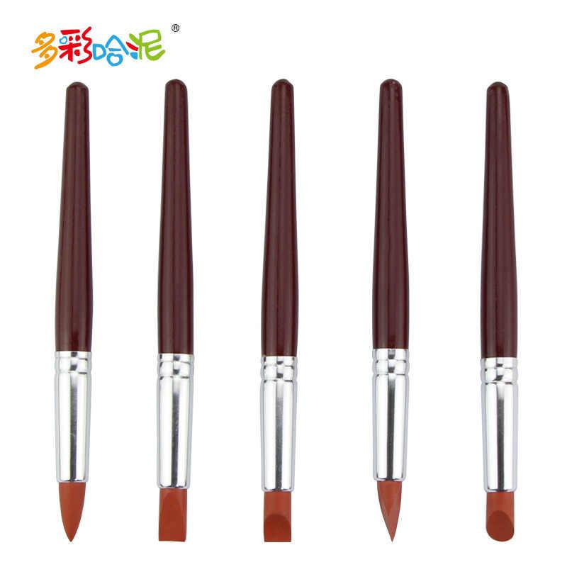 5Pcs/Set Rubber Pens Clay Tools Soft Baking Fimo Polymer DIY Art Manual Handmade Oven Bake Purple Plasticine Artist Educational