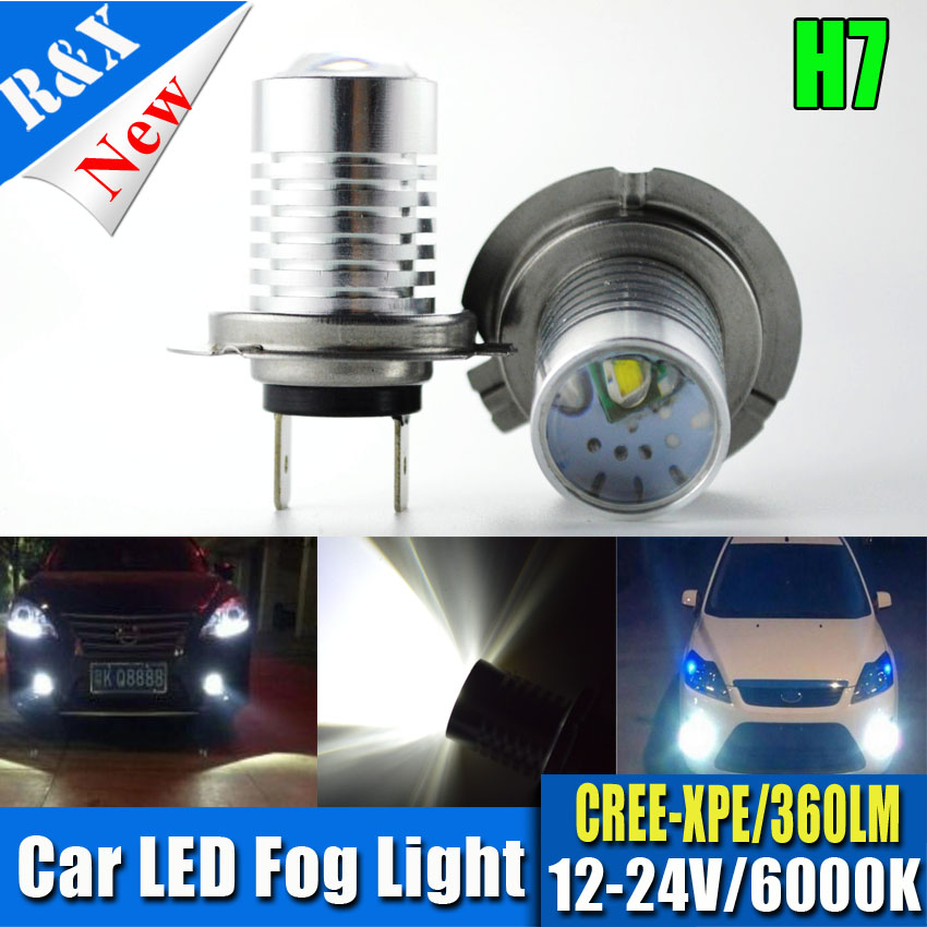 Free Shipping 2x5W H7 Canbus Error Free Projector XPE chips super bright high Power Led Car Fog light auto fog lamp bulb 2pcs car led headlight kit led bulb d33 h11 free canbus auto led lamps white headlamp with yellow light fog light for citroen c4