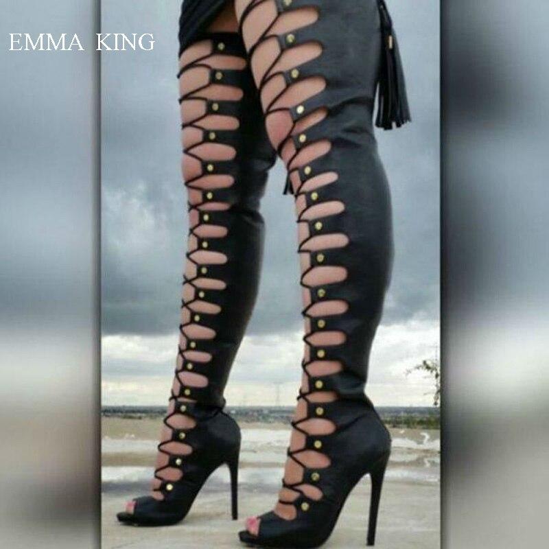 Avant Long Outs Femmes Ouvert Noir Talons as Bouclée Dames Noir Et Cut Au Conception Bout Chaussures Genou Superbe Sur Haut Stiletto Bottes Picture Des xqUz0