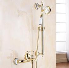 Высокое Качество Золота смеситель для душа, titanium gold ванна и смеситель для душа установить ванной смеситель для душа, экономия воды ванной кран