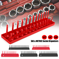 6Psc Plastic 1/4 3/8 1/2 SAE & Metric Socket Rail Trays Shelf 172 Slot Organizers Kit for Garage and Workshop Use Black Red