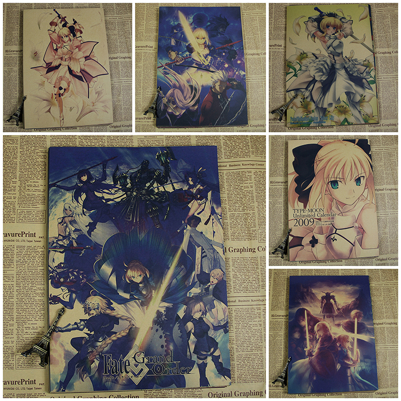 FATE stay night ZERO SABER LILY  kraft poster  wall sticker Japanese anime