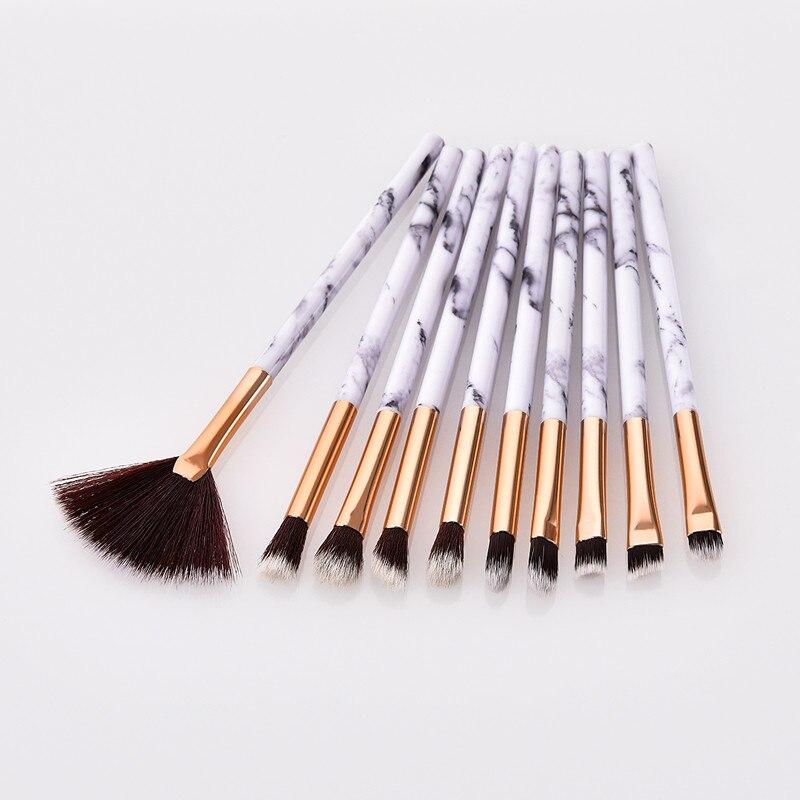 10 шт. глаз набор кистей для макияжа Мрамор текстура ручкой кисть для теней Легко управляемый многофункциональный вентилятор щетки косметич...