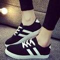 Venta caliente de La Manera Mujeres de Otoño zapatos de Lona Bajos Plana Zapatos de Lona de Las Mujeres Transpirable de Encaje Hasta Zapatos de Las Señoras Ocasionales Zapatillas Plimsoll G050
