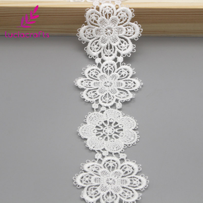Image 4 - Lucia crafts 1yard/lot 5cm White Flower lace Embroidery Trim Ribbon DIY Wedding Sewing Garment Handmade Accessories N0506-in Lace from Home & Garden