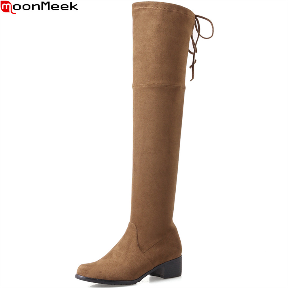 MoonMeek black beige brown fashion women boots round toe flock ladies boots square heel comfortable autumn over the knee boots