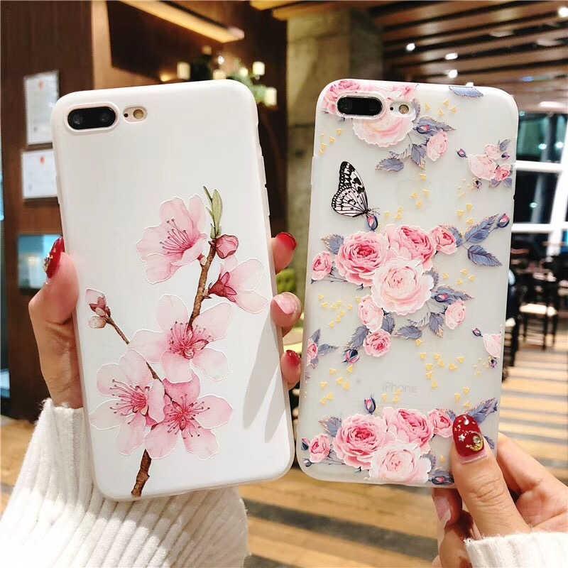 花柄のケース iPhone × 6 6 s ケースソフトシリコンフローラル保護 4s iphone 7 8 プラス X 電話ケース