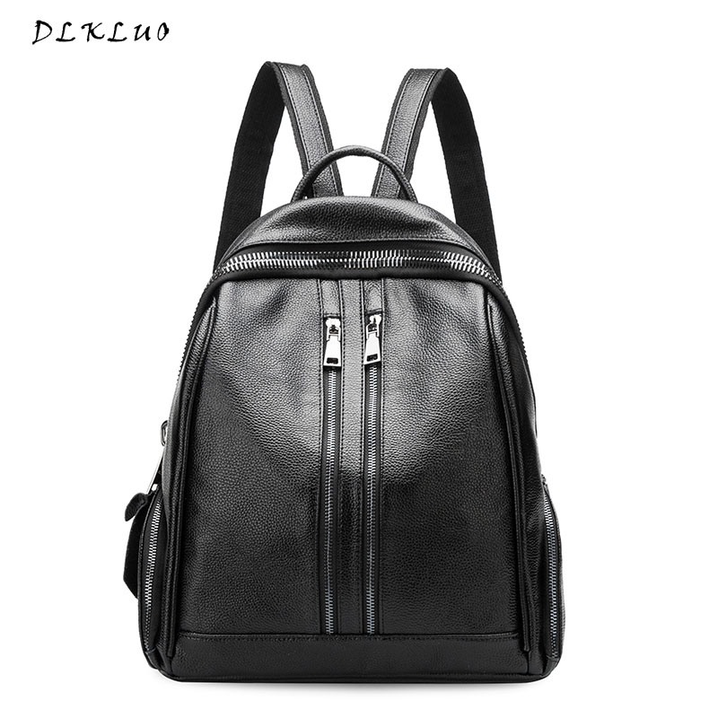 Dlkluo 2017 New Fashion Women Genuine Leather Backpack High Quality Famous Brand Women s Backpack For