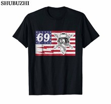 Oom Ronnie 69 Amerikaanse Usa Vlag Mac Bliksem T-shirt Bolt katoen Nieuwe Mode O Hals Slim Fit Tops Skate t-shirt(China)