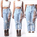 2015 Jeans Ladies Loose Version Hole High Waist Jeans Panty Calca Pants Feminina BF Loose Casual Jeans For Women Plus Size