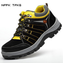 цена на plus size men steel toe caps work safety shoes cow suede leather security tooling boots protective footwear non-slip platform