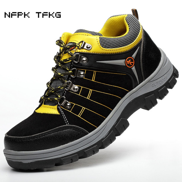 d5cb299194d US $45.24 48% OFF plus size men steel toe caps work safety shoes cow suede  leather security tooling boots protective footwear non slip platform-in ...