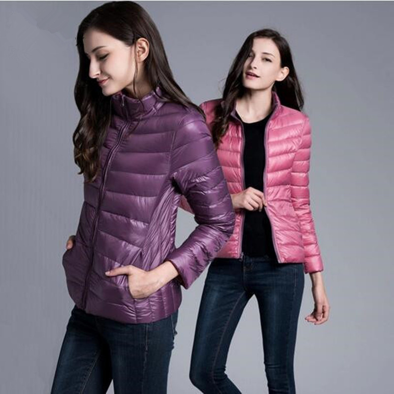 2019 fashion women in winter to keep warm 90% white duck   down   Stand collar   down   jacket/femininity Double sided   down     coat