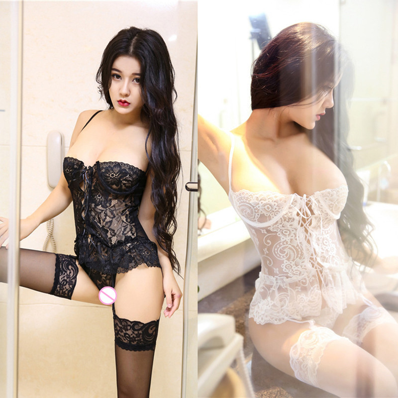 2018 New Hot Erotic Sexy Lingerie Erotic Open Crotch Sleepwear For Women Lace Porno Babydolls Bandage Deep V Underwear Costumes