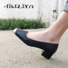 AIKELINYU Fashion Shallow Pumps Genuine Leather Office Career Slip-on Spring Shoes Handmade Square Heel Concise New Womens Pump