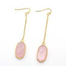 Trendy-beads Light Yellow Gold Color Oval Shape Natural Rose Pink Quartz Drop Earrings For Women Long Chain Jewelry