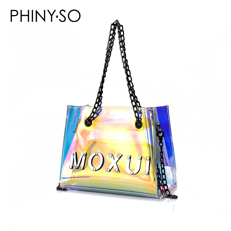 2018 newest fashion casual women handbag shoulder bags tote Transparent PVC leather letter Chains cross body messenger bag