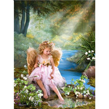 Yikee 5d diy Алмазная картина детский Ангел полный квадрат/круглая