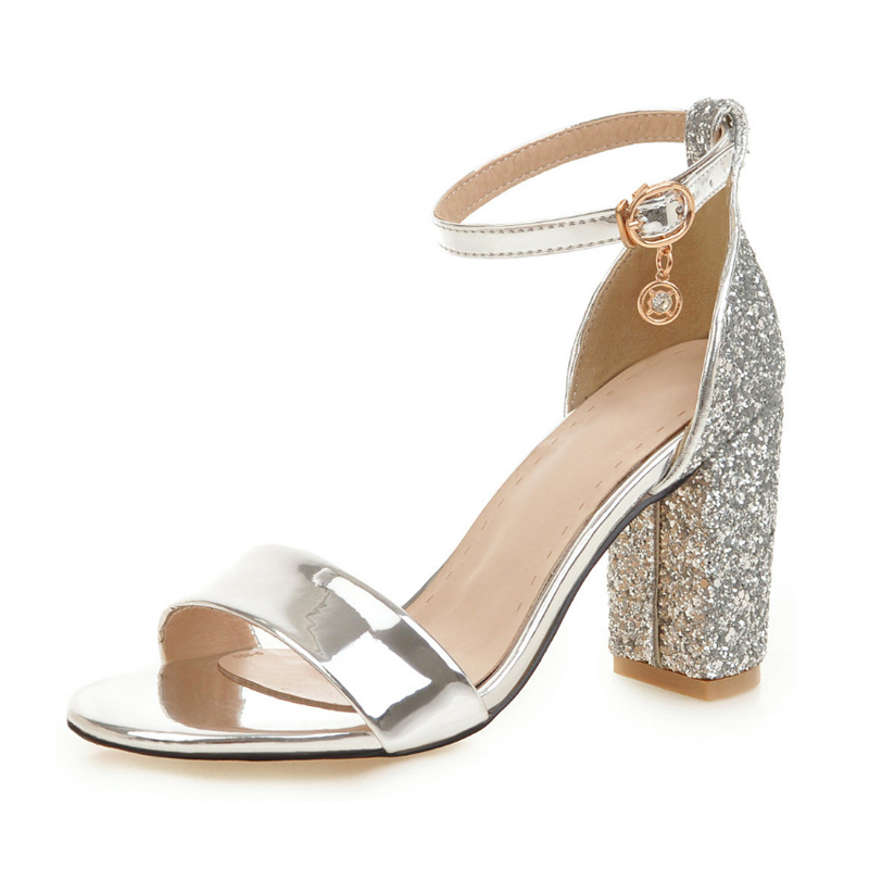 Vicamelia Women Glossy Block Heel Sandals Shiny Sequins High Heel Sandals Fish Mouth Buckle Sandal Party Shoes With Glitter 565