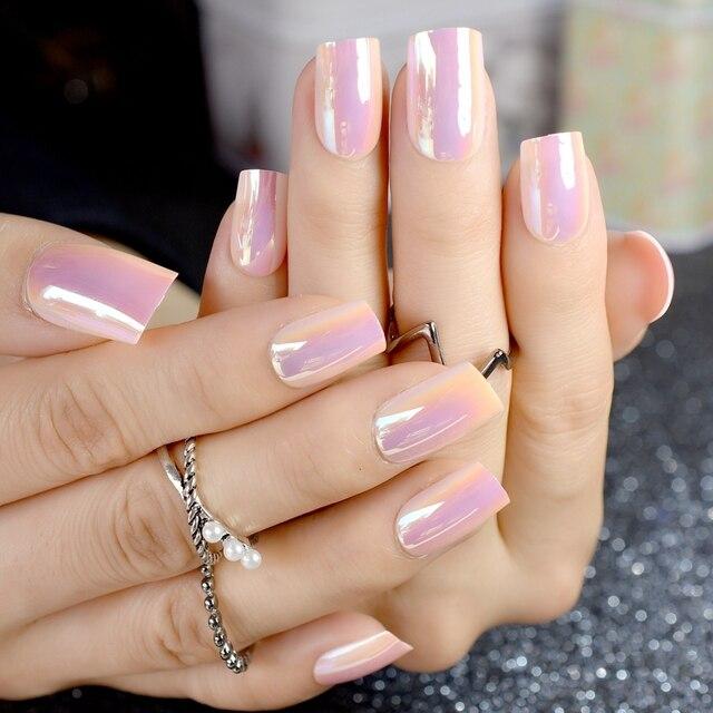 Colorful Chrome Fake Nails Shiny Medium Square Pink Abalone Shine Acrylic Las With Glue Sticker