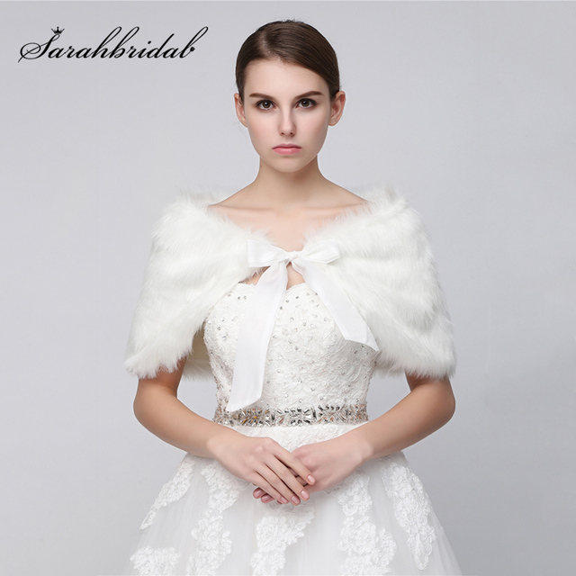 Cheap In Stock White Wedding Jackets 2018 Faux Fur Bolero Bridal
