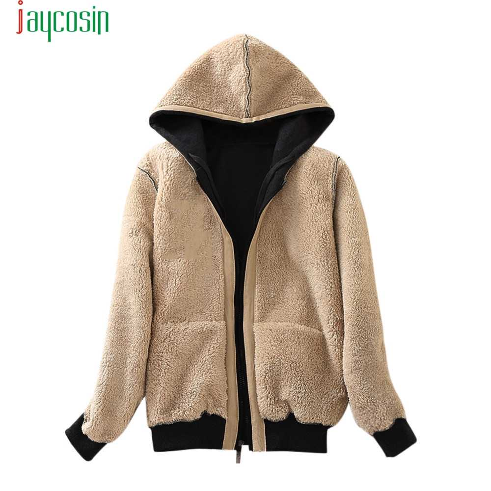 JAYCOSIN ジャケットカジュアル肥厚ふわふわウール生き抜く女性暖かい両面着てフード付きジッパー特大生き抜く 09