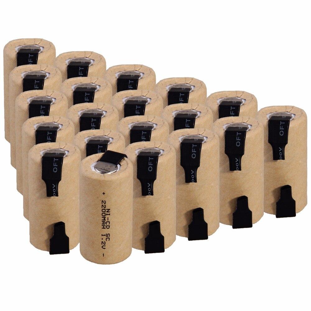 Capacité réelle! 20 pièces SC 2200 mah 1.2 v batterie piles rechargeables NICD pour visseuses électriques pour perceuses électriques