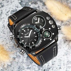 Image 3 - Oulm Rahat gerçek deri kayışlı saatler Erkekler Lüks Iki Zaman Dilimi Kuvars Saat Büyük Arama Erkek Spor Kol Saati