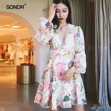 SONDR Print Patchwork Lace Sexy Women Dress V Neck High Waist Lantern Sleeve Mini Dresses Female Casual Spring 2019 цены