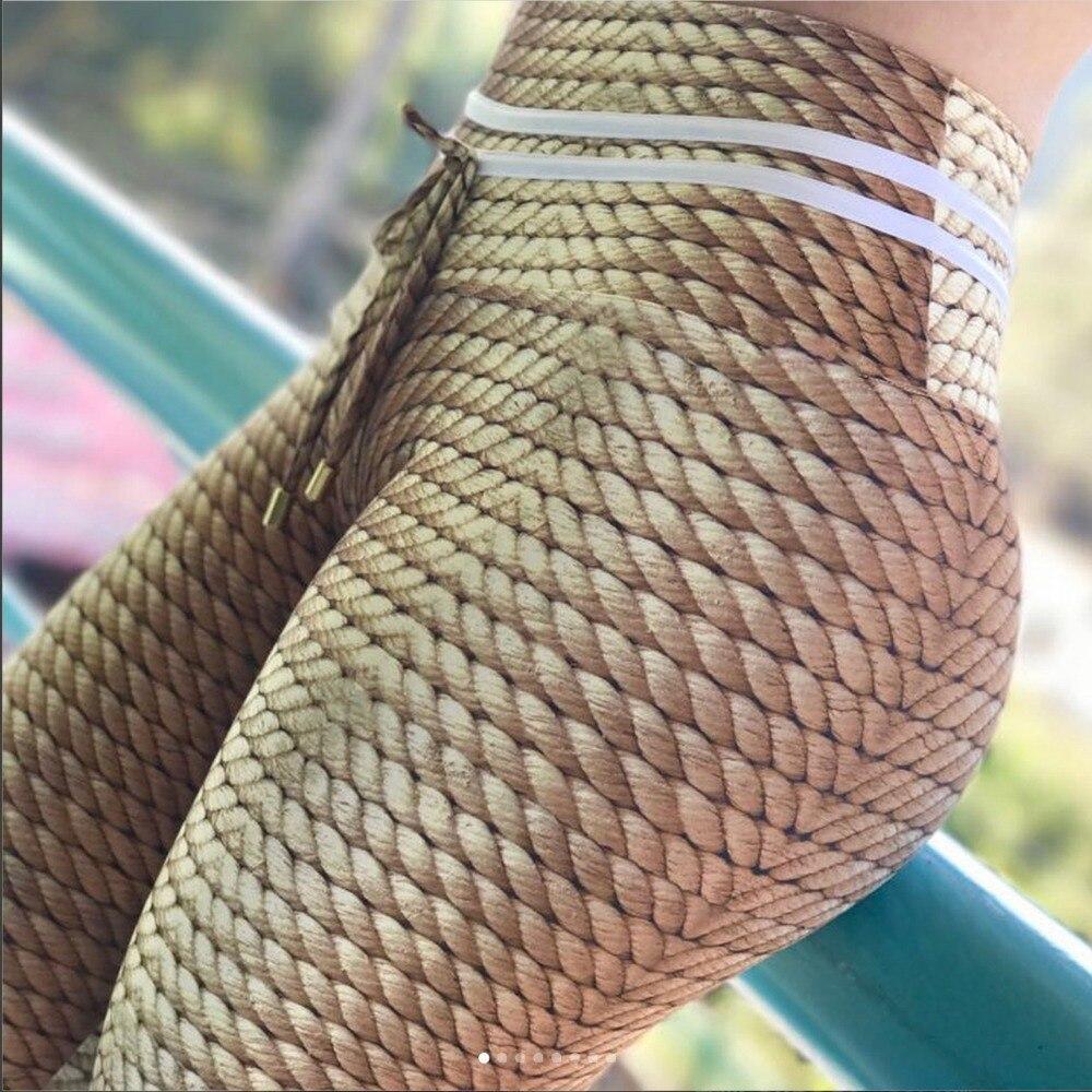 2018 Nuovo Modo di Lavoro A Maglia Corda Stampa Patchwork Leggings Donna di Fitness Abbigliamento Leggings Donna Pantaloni Pantaloni Sportivi Femminili