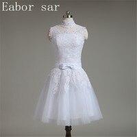 White Tulle Champagne Lace Vintage 50s Short Wedding Dresses Sheer Neck Short Sleeves Sash Bridal Dress