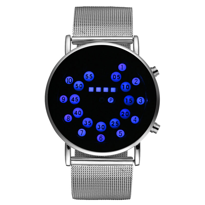 2016 New Arrival Blue Ball Led Digital Wrist Watch Stainless Steel Mesh Band Quartz Watch For Men Women Gift Watches Digital Watches
