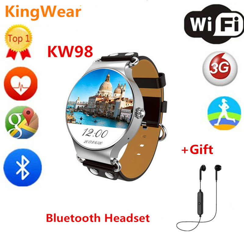 KINGWEAR kw98 Android 5.1 MTK6580 512MB+8GB Smart Watch Phone with GPS Pedometer Heart Rate Monitor Smartwatch For iphone xiaomi цена