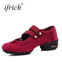 Ifrich New Arrival Womens Thực Hành Giày Khiêu Vũ Thoải Mái Ladies Professional Sneakers Đen Đỏ Gái Giày Dép Múa