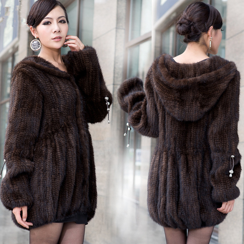 2018New mink fur coat women's long sleeve top fashion all match Mink knit jacket mink knitted coat Free shipping-in Real Fur from Women's Clothing    3