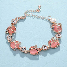Romantic Female Bracelet Jewelry Fashion Rose Flower Shaped High Grade Opals Crystal Charm Bracelets For Woman