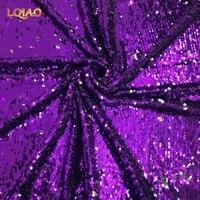 Reversibile Tessuto Paillettes Viola Argento Maglia Two Way Stretch Ricamato Sirena Tessuto Del Merletto per il Vestito Da Sera Decorazione di Cerimonia Nuziale