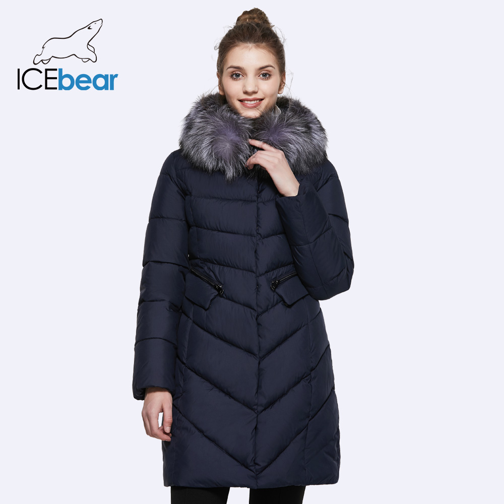 ICEbear 2017 Collar of Natural Fur Coat Women's Jacket parkas Bio-down Warm Thickening Cotton Padded Female Jacket Coat 17G6560D winter jacket female parkas hooded fur collar long down cotton jacket thicken warm cotton padded women coat plus size 3xl k450