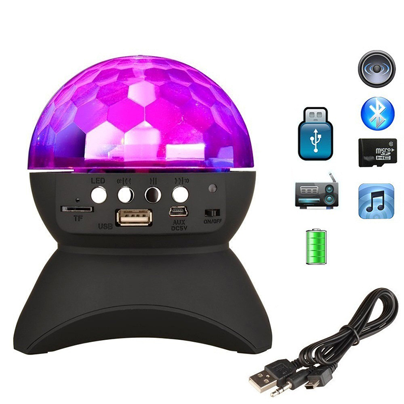 Mini Colorful led Light Wireless Bluetooth Speaker Rechargeable stage lamp U disk TF card FM radio ball Party stage lighting tt 028 colorful flash mini speaker w fm tf card reader